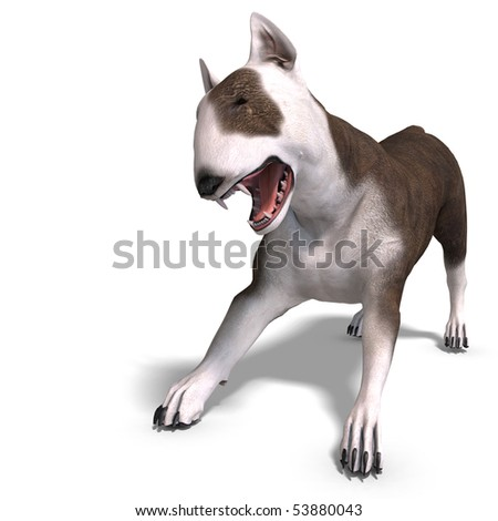 Bull Terrier Dog. 3D rendering with clipping path and shadow over white - stock photo