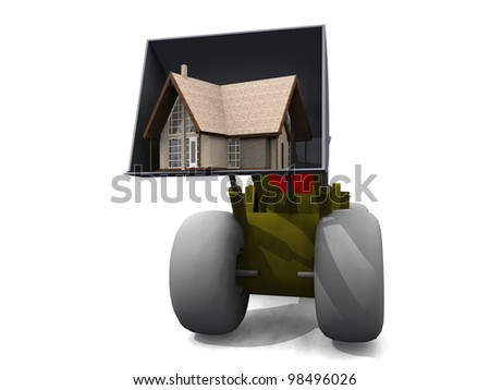 bulldozer and house