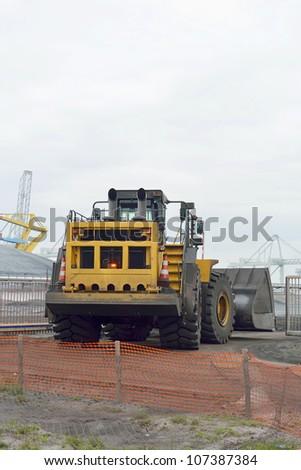 bulldozer at coal terminal