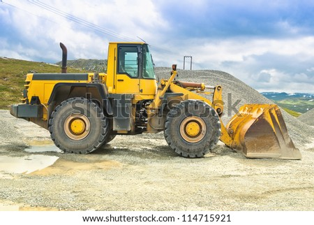 bulldozer at the gravel