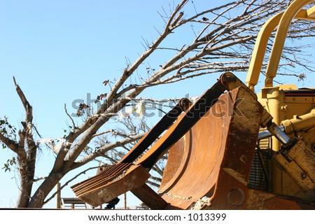 Bulldozer blade after Hurricane Katrina.