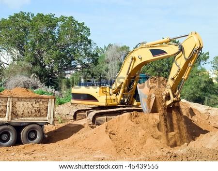 Bulldozer in the road building