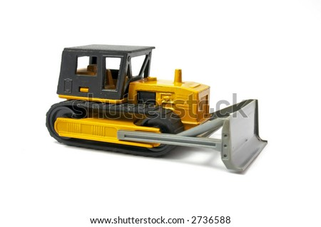 bulldozer of yellow color Isolated on a white background,