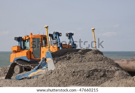 Bulldozer on Maasvlakte 2 project
