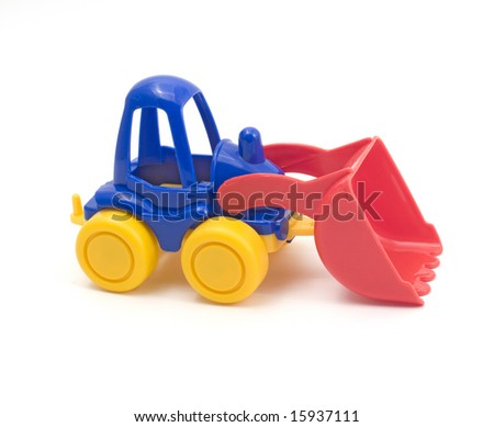Bulldozer toy on a white background (isolated).