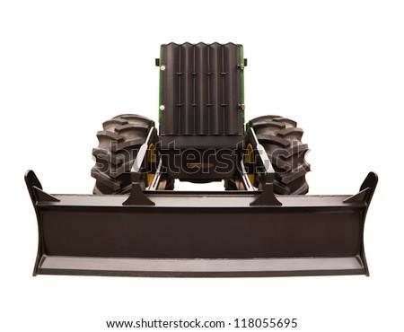 Bulldozer with bucket closeup isolated on white background