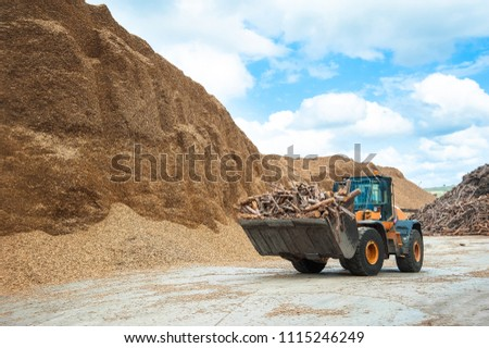 Bulldozer Working in the Wood Factory