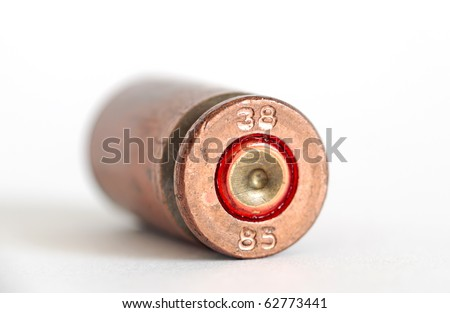 bullet case isolated closeup