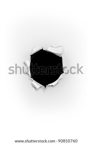 Bullet hole in paper