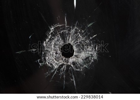 bullet holes in glass isolated on black