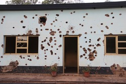 Bullet holes left in the Camp Kigali building where Belgian soldiers were killed in 1994