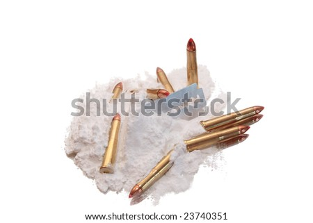bullets and drugs showing a dangerous side to life against a white background