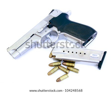 bullets and Semi-automatic gun isolated on white background