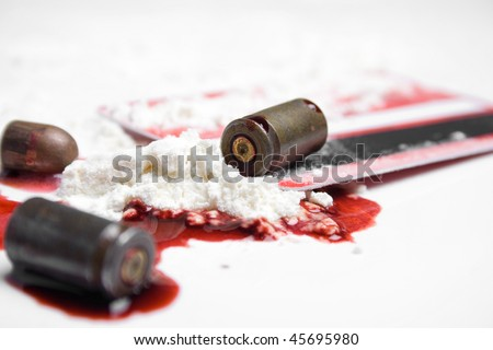 bullets, blood and cocaine - crime concept