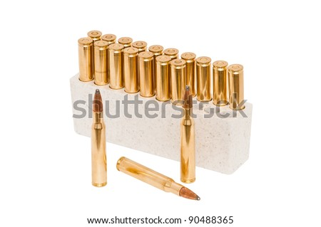 Bullets for a 30-06 high power hunting rifle. Isolated on a white background with a clipping path.