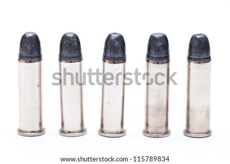 bullets for .38 revolver handgun isolated on white background.