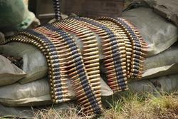 Bullets in a world war 2 machine gun belt.