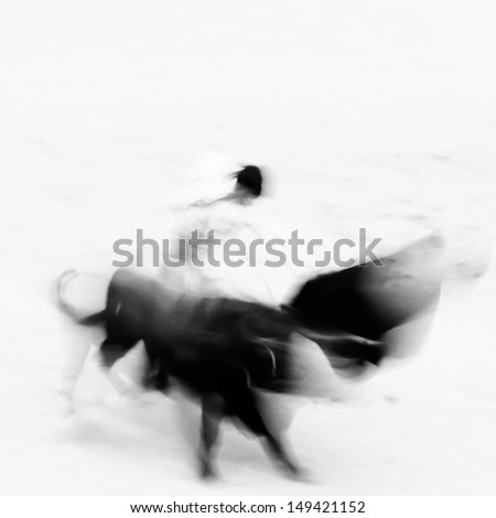 Bullfigting in bullring Las Ventas Madrid Spain Artistic abstract black and white image