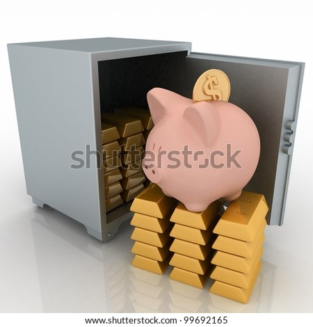 bullions and piggy bank in a security safe. 3d rendered illustration isolated on white background. - stock photo
