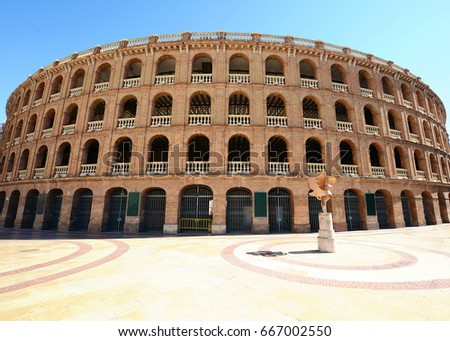 Bullring arena (Plaza de Toros) in the city of Valencia, Spain.
