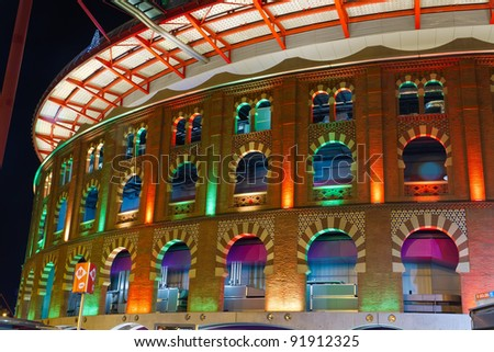 Bullring Arenas on Spain Square. Of traditional neo-Mudejar style. New shopping center in Barcelona. Inside is a museum of rock and roll. Opened in June 1900. Barcelona, Catalonia, Spain.