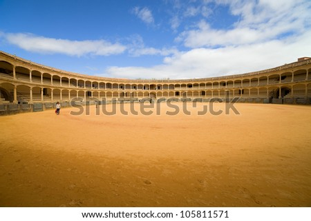 Bullring in Ronda, opened in 1785, one of the oldest and most famous bullfighting arena in Spain.