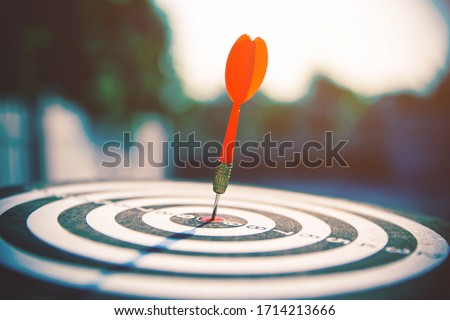 Bullseye or bull's-eye or dart board has dart arrow hitting the center of a shooting target for business targeting and winning concepts.