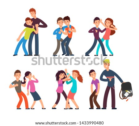 Bullying kids. Stop school bully. Aggressive and sad children. Cartoon fighting teenagers characters set. Illustration of behavior and harassment, conflict people
