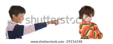 Bullying. Two children isolated on white background.