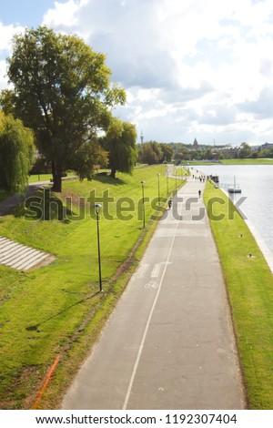 Bulwar Kurlandzki with Vistula River in the background in Krakow, Poland. Zdjęcia stock ©