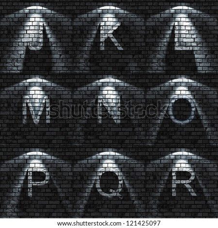 bumped Brick wall textured ABC set ( all sets containing letters, numbers, signs and symbols)