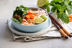 Bun Bo Hue, Bun Bo, Vietnamese beef noodle soup spicy. bowl of beef and rice vermicelli soup, vietnamese noodle cuisine in Hue