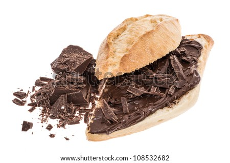 Bun with Chocolate Creme and Chocolate pieces isolated on white