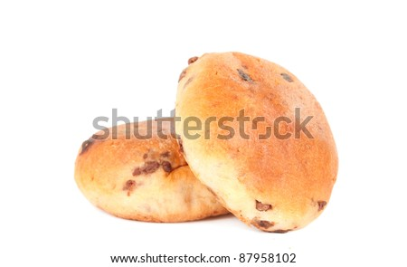 bun with chocolate on a white background