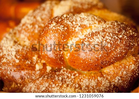 bun with crumb. bun in the bakery, sprinkled with crumbs. Fresh tasty bun with crumb. bun with crumb. highly enriched bread, and whose high egg and butter content give it a rich and tender crumb.