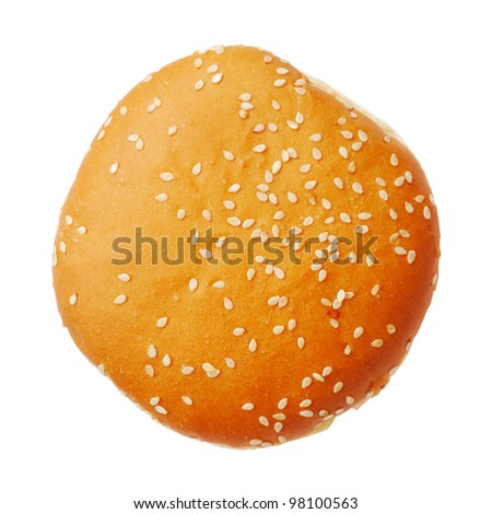Bun with sesame isolated on white background, top view