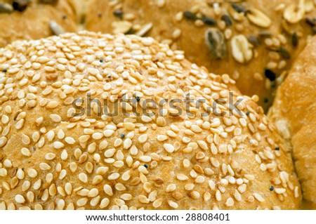 bun with sesame seeds macro