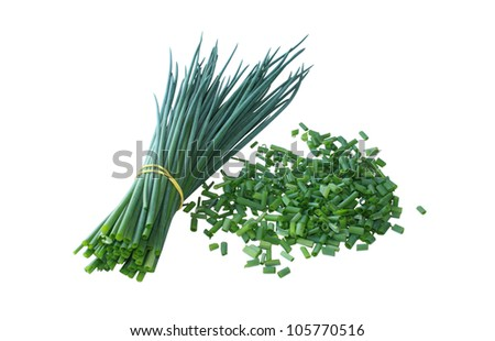 Bunch of a green onions and the cut onions isolated on a white background