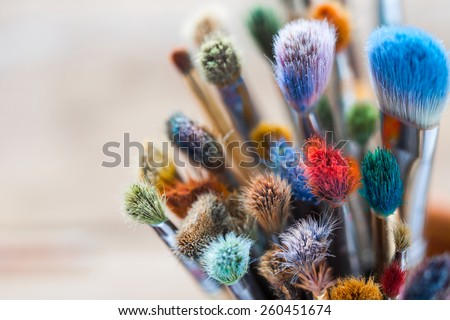 bunch of artist paintbrushes...