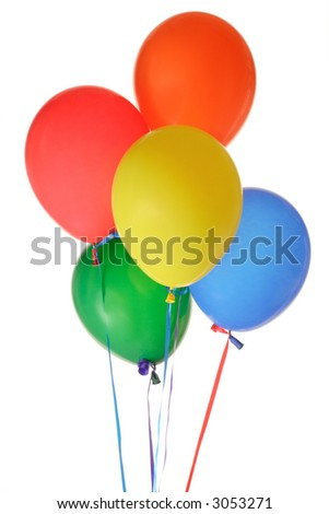 Bunch of balloons against white background