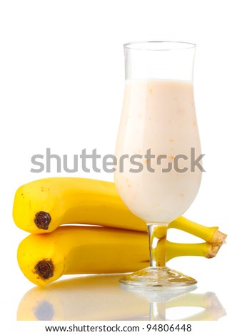 Bunch of bananas and milk cocktail isolated on white