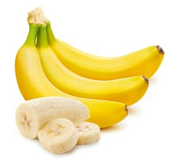 Bunch of bananas and slices isolated on white background Clipping Path