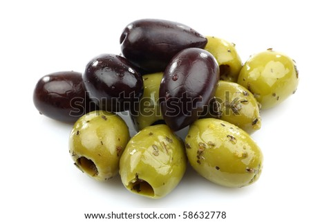 bunch of black and seasoned green olives on a white background