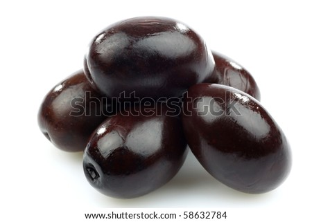 bunch of black olives on a white background