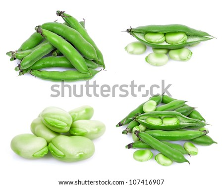 bunch of broad beans on a white background collage