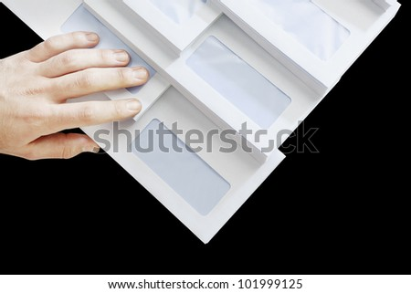 Bunch of Business Envelopes isolated on black - stock photo