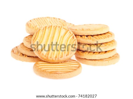 bunch of butter cookies isolated on white background