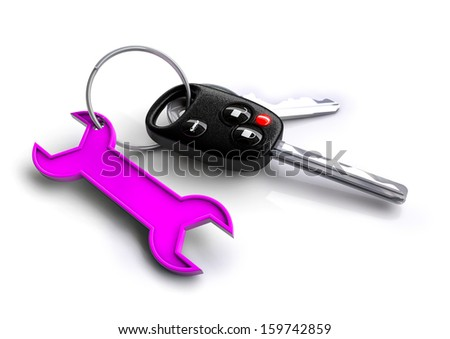 bunch of car keys with spanner keyring. Concept for car / vehicle servicing and maintenance.