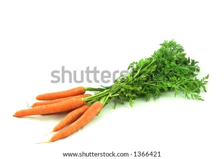 Bunch of carrots isolated over white.