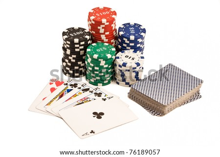 Bunch of casino chips, deck of cards and poker straight isolated on white
